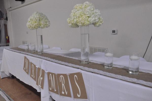 Wedding Party Table - Overhead light