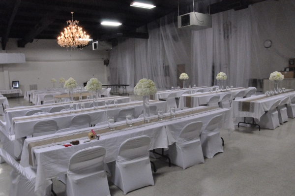 Reception tables with overhead light
