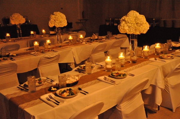 Reception table with candle light