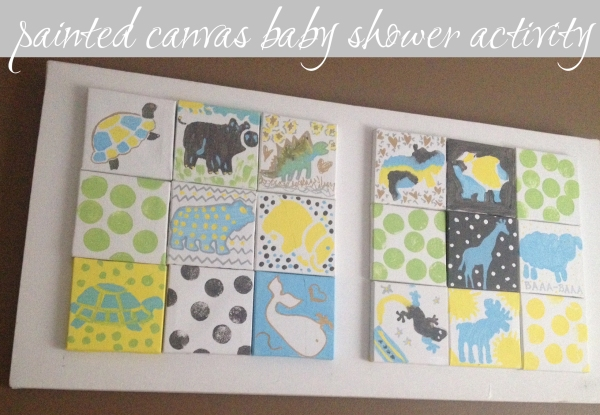 Painting Canvas Baby Shower Activity